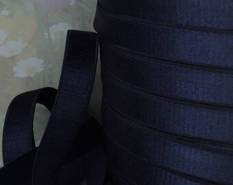 3yds Elastic Satin Dark Blue 1/2 inch wide Shiny Stretch Bands Straps bra elastic lingerie bra making supplies