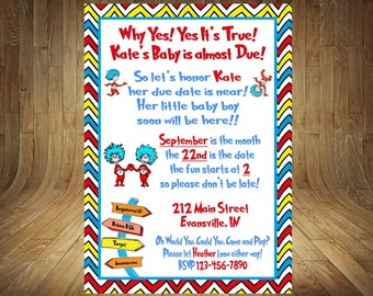 Thing 1 Thing 2 Baby Shower Invitation, Thing 1 Thing 2 Baby Shower, Thing 1 Shower Invitation, Thing 1 Thing 2, Thing 1 Thing 2 Thank You