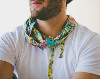 Men's Festival Clothing, Festival Scarf, Men's Neck Scarf, Men's Long Scarves, Blue Cotton Scarf, Blue Infinity Scarf, Cotton Infinity Scarf