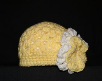 15% Off With Coupon Code DISCOUNT15 Crochet Girls Hat, Flower Hat, Baby Hat, Custom Made Hat, Teen Hat, Adult Hat