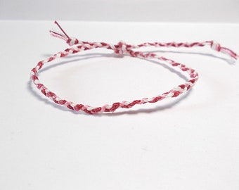 Fine weaved bracelet to knot, pink, red, white
