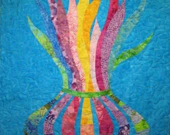 Plants in Vase Wall Hanging Art Quilt