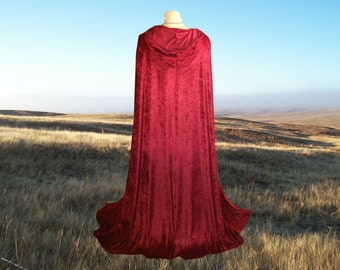 Red Cloak - Little Red Riding Hood -  Garnet Velvet Cape- Wedding - Prom - Renaissance Festival