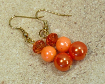 Orange Pearl Earrings: Retro Beaded Dangle Earrings, Nickle-Free Gold Finish Earwires, Handmade in the USA, Ready to Ship