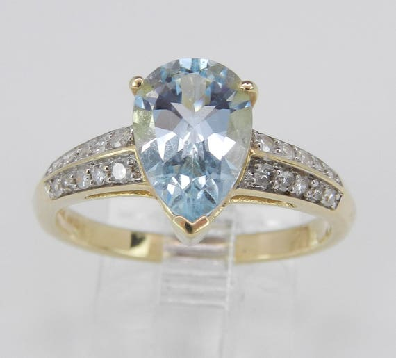 Diamond and Aquamarine Engagement Promise Ring 14K Yellow Gold Aqua Size 7 March Birthstone
