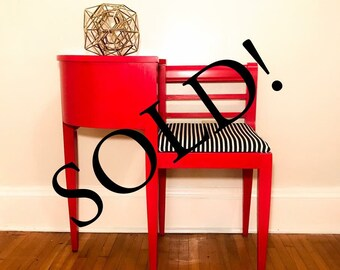 SOLD!!!!   Hand Painted   Vintage   Gossip Bench   General Finishes   Furniture   Holiday Red   Telephone Desk   Retro   Elegant   Office