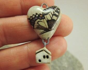 Butterfly Inn #3...OOAK Stoneware Pendant by elukka