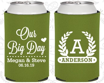 Olive Green Wedding, Olive Green Can Coolers, Olive Green Wedding Favors, Olive Green Wedding Gift, Olive Green Party Decor (238)
