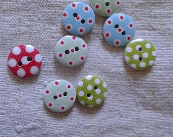 set of 10 wooden buttons, polka dots