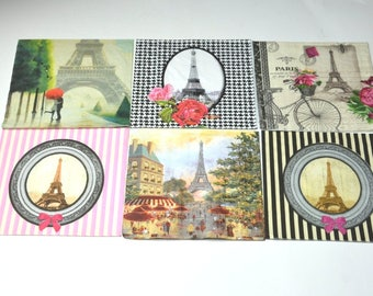 6 Eiffel Tower Paper Napkins for Decoupage, Mixed Media, Collage, Scrapbooking, Paris  Decoupage Paper, French Style Paper for Decoupage