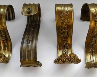 Antique Ornate Victorian,  Two Separate Brass Pairs of Matching Curtain Pulls, Salvage