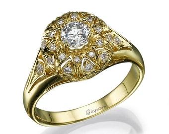 Antique Engagement Ring, Vintage Engagement Ring, Unique Engagement Ring, Art Deco Engagement ring, Wedding Ring, Engagement band, gift
