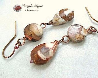 Brown White Gemstone Earrings, Western Earrings, Southwestern Jewelry, Long Dangles, Earthy Spotted Agate Stone, Rustic Copper E128