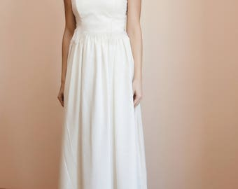Wedding long skirt/Ivory silk crepe skirt/Gathered skirt at the waist/High waist skirt/Wedding accessories/A-line bridal skirt