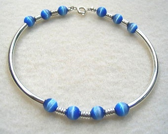 Blue and Silver Tube Bead Bracelet, Mystical Blue Handmade Glass Bead Bracelet, Modern Minimal Jewelry