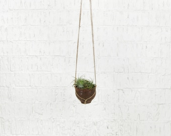 Vintage Hanging Planter | Macrame Jute Plant Hanger and Small Sandstone Pot Holder in Beige, Cognac and Brown | Bohemian Home Decor