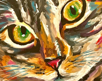 Colorful cat art print from original colorful tabby cat painting, colorful cat print Canvas or paper prints