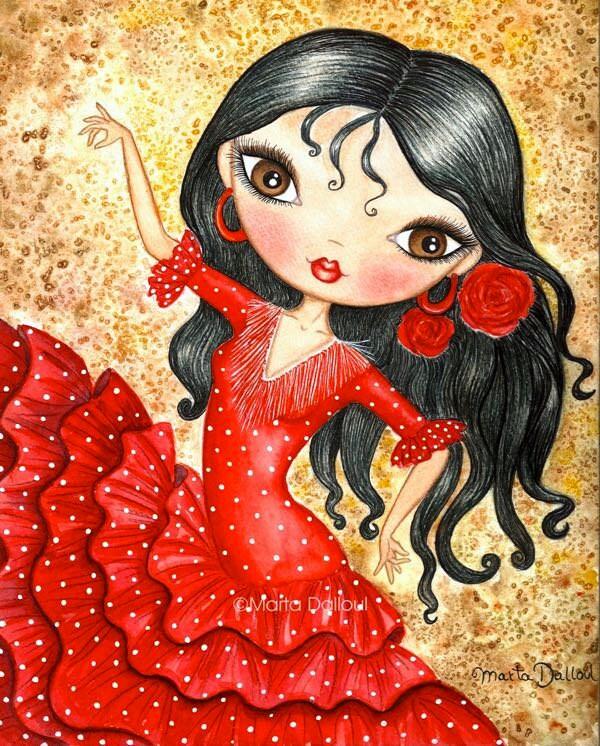 Flamenco dancer art print spanish girl whimsical painting - Danseuse flamenco dessin ...