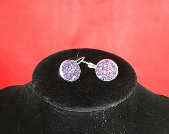 Purple Glass Glitter - Earrings - Silver - Lever Back - Sparkle - Faux Druzy - Shiny - Pixie Dust