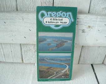 Vintage Oregon highway map official folded cities towns 1983- free shipping US