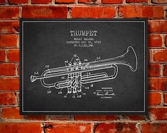 1939 Trumpet Patent, Canvas Print, Wall Art, Home Decor, Gift Idea