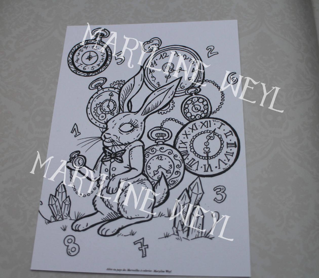 carte postale Alice à colorier le lapin Alice au pays