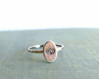 Lotus ring, Sterling silver lotus ring, Lotus flower ring, Namaste ring, Silver tiny ring, Stacking ring set, Yoga gifts, Gifts tor women