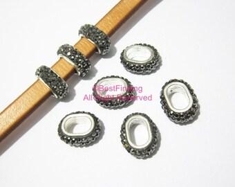 6pcs Hematite licorice rhinestone pave beads 10x6mm Licorice leather findings