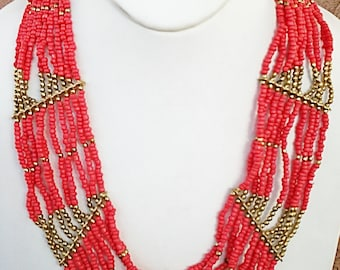 Coral and Gold Statement Necklace / Multi Strand Necklace / Beaded Necklace.