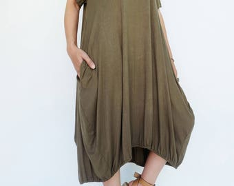 NO.152 Olive Rayon Spandex Baloony Tunic Dress, Slouchy Day Dress