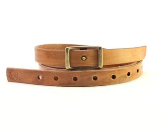 Skinny Conway Belt / Handmade Leather Skinny Conway / Mens Belt / Womens Belt / Handmade leather / Handmade mens belt / Handmade womens belt