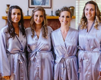 6-Bridesmaid Solid Color Satin Robes-Select from many Colors-Available Back Monogram on the Brides Robe