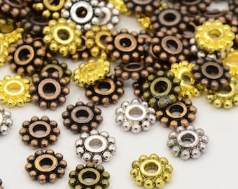 Mixed Color Tibetan Style Dot Flower Flat Spacer Beads 6mm