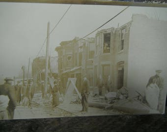 Vintage RPPC - Real Photo Postcard - Storm Destruction to Town