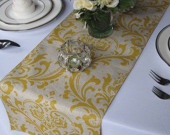 Traditions Yellow and Taupe Damask Wedding Table Runner