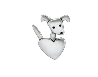 Sterling Silver Dog Necklace - Pet Lover Pendant - Puppy with Heart