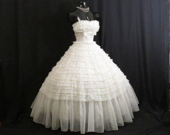 Vintage 1950's 50s Bombshell Strapless White Tiered Chiffon Organza Lace Party Prom Wedding DRESS Gown
