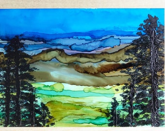 """Mountain Dreamscape 5x7"""" Original Alcohol Ink Painting"""