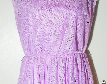 Vintage, 1970s,Lilac,LaceDress,Maxi Dress,Goddess,Pretty,Junior,Wedding,Party,Size 7, Size 8,Summer Dress