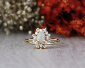 Oval Opal and Celestial Diamond Halo Engagement Ring | 1MM Band Width | Thin Band | Solid 14K Gold | Fine Jewelry | Free Shipping