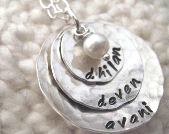 Tripled Up sterling silver cupped mothers necklace
