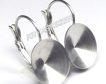 Hypoallergenic stainless steel french clip, lever back with 14mm Rivoli cup