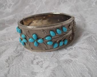 Vintage Cuff Bracelet Silver Tone Faux Turquoise Floral