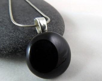 Little Black Pendant Necklace- Modern Fused Glass