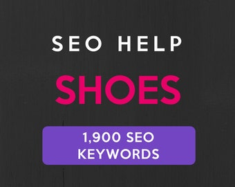 1,900+ SEO Keywords for Shoes, Boots, Sandals: Etsy SEO Keywords. SEO help for Etsy sellers, Etsy tag and title help. Be a Etsy best seller.