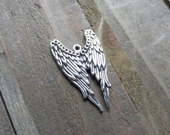 Large Angel Wing Pendant Angel Wing Charm Antiqued Silver Angel Wing Angel Charm Angel Pendant Bird Wing Charm 39mm