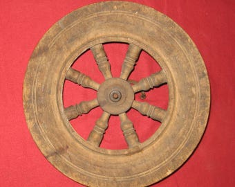 Vintage Wooden Part of a Spinning Wheel.