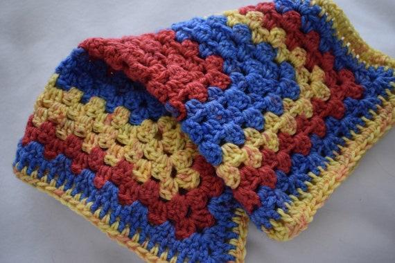 Popping Primary Crochet Cat Mat-- Granny Square Style Pet Blanket