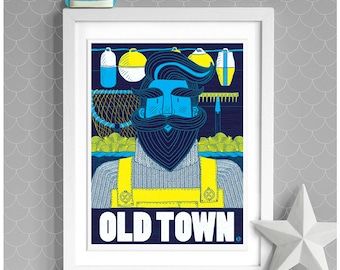 Old Town Hipster Bearded Fisherman, Leigh-on-Sea Print