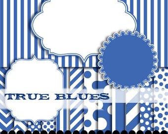 Blue clip art frame digital paper printable cobalt polka dot stripe clip art photo book : p0176 3s2550 IP